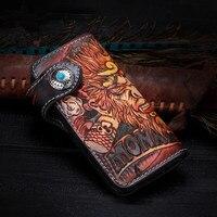 Высокое значение Пояса из натуральной кожи Для мужчин ручной работы Длинный кошелек большой ручной работы Король обезьян дизайнер кожаные