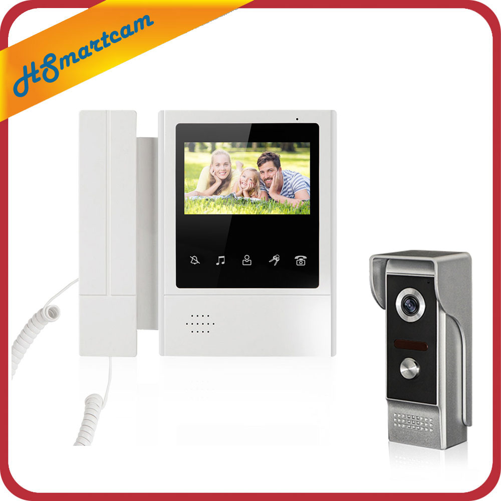4,3 Color Video puerta teléfono intercomunicador timbre IR visión nocturna Cámara Monitor inicio intercomunicador sistema agregar 5m cable de prueba - 3