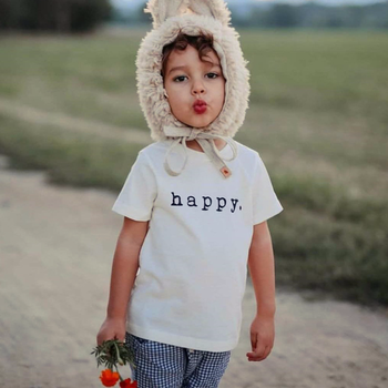 chifuna 2019 Baby Girls Clothes Short Sleeve Happy T Shirt Toddler Children Short Sleeve Kids Fashion Style T-shirt Top Tee 1