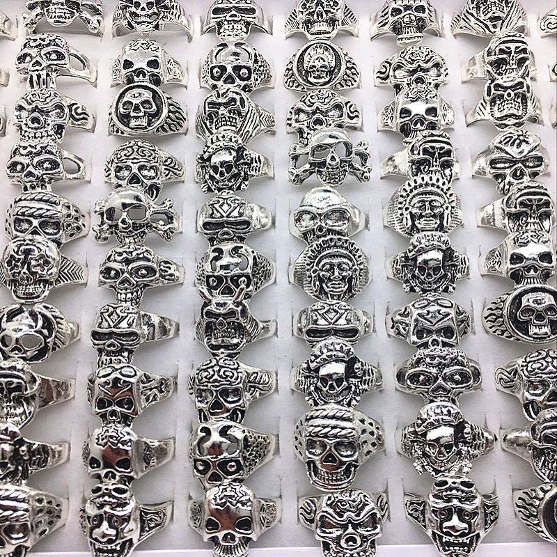 MIXMAX 100pcs Skull skeleton Rings Mens Womens unisex Exquisite vintage Silver Punk Biker Fashion Jewelry Wholesale