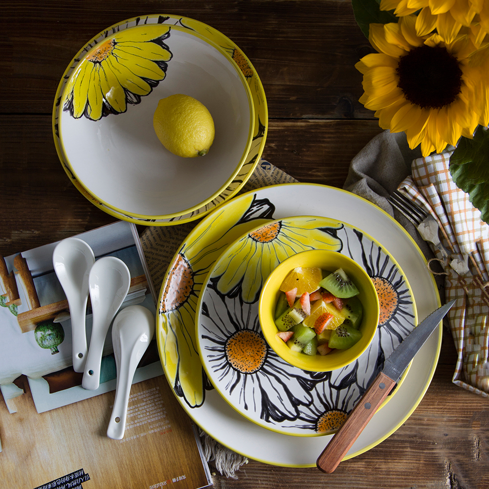 Aliexpress.com  Buy 22set ceramics dishes bowl dinner plate Sunflower cartoon pattern Dish High quality dishes and plates wedding gift box tableware from ... & Aliexpress.com : Buy 22set ceramics dishes bowl dinner plate ...