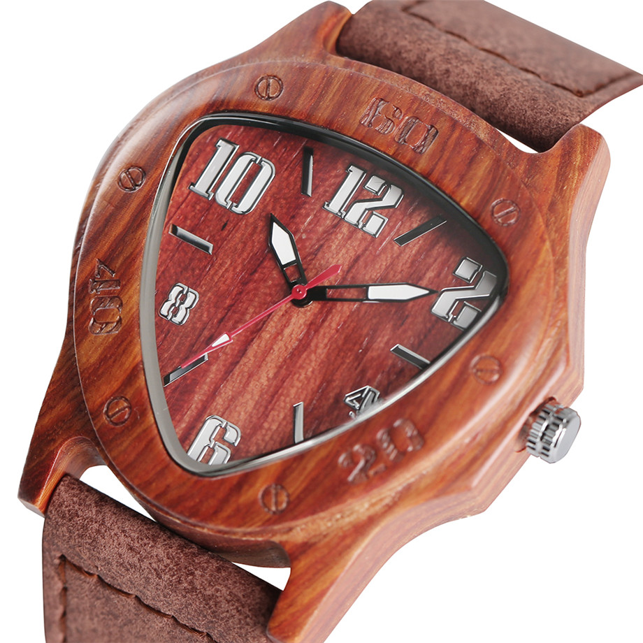 genuine leather band pink buckle quartz red sandalwood watches03