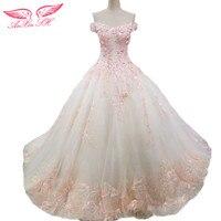 AnXin SH Lace Flower Wedding Dress Lace Pink Flower Wedding Dress Champagne Lace Handmade Flower Wedding