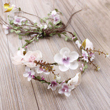XinYun Fabric Flower Crown Flower Head Band Wedding Headpiece Wedding Accessories Flower Head Wreath Adjustable Women Hair Band