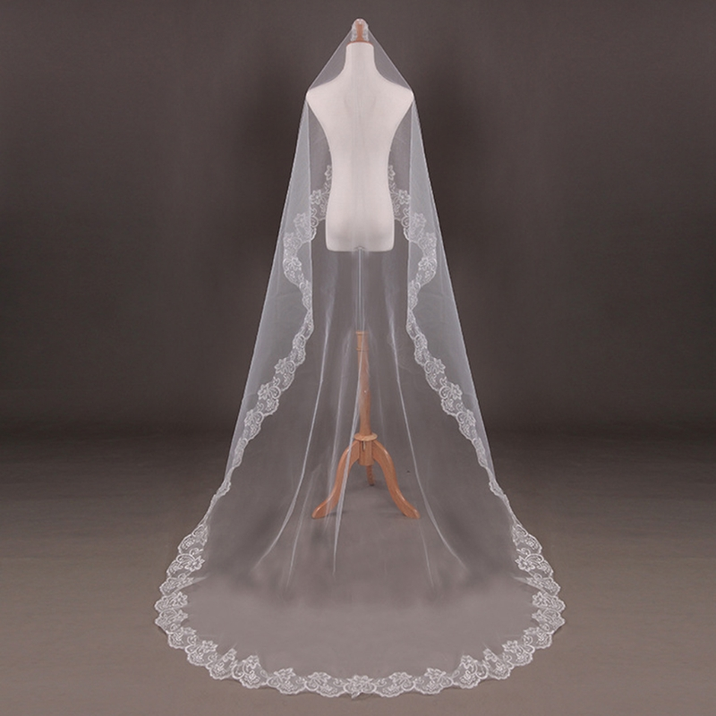 150cm Women Bridal Short Wedding Veil White One Layer Lace Flower Edge Appliques Wedding Accessories For Women Bride
