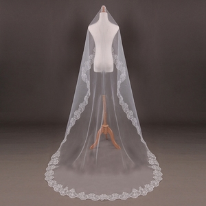 150cm Women Bridal Short Wedding Veil White One Layer Lace Flower Edge Appliques wedding accessories for women bride(China)