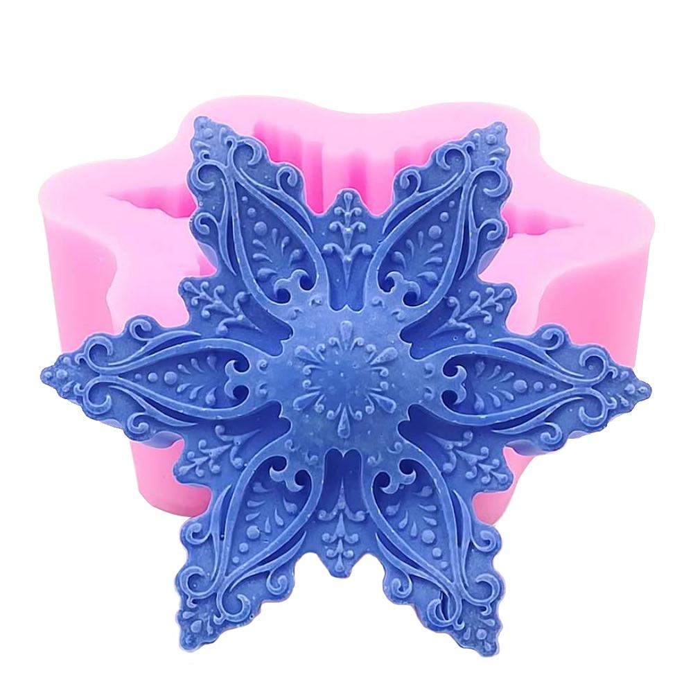 2017 diseño de copo de nieve 3D molde de jabón moldes de fondant de chocolate hechos a mano moldes de silicona para la fabricación de jabón