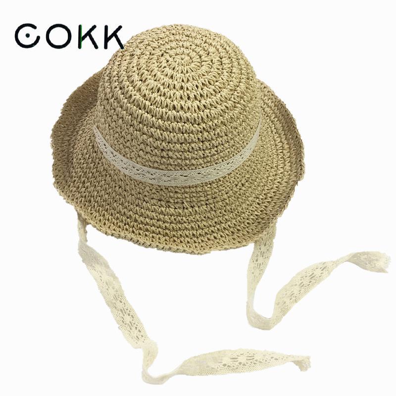 COKK Summer Boater Hats For Women Straw Sun Hat Lady Girls Lace Ribbon Bow Panma Beach Hat Floppy Female Travel Folding Chapeu