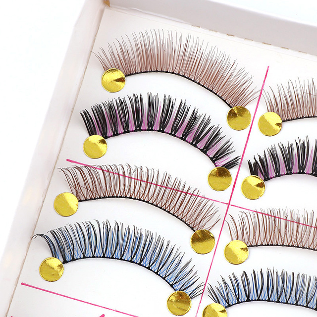 407ea58185d 10 Pairs High Quality Hand Made Different Colorful Fake Eyelashes Thick  False Eyelashes For Makeup Beauty Wedding Tools