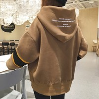 women winter new plus velvet thick hooded jacket Korean version of Harajuku BF student loose shirt