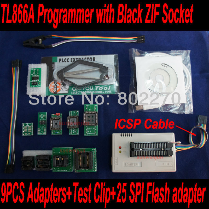 USB Programmer TL866A support ICSP in-circuit programming with Black ZIF Socket +9pcs adapters+test clip+25 SPI Flash adapter usb tl866cs programmer eprom spi flash avr gal pic 9pcs adapters test clip 25 spi flash support in circuit programming adapter