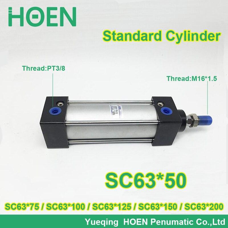 SC63 50 SC63 75 63mm bore stroke SC63x100 standard single rod double action pneumatic cylinder SC