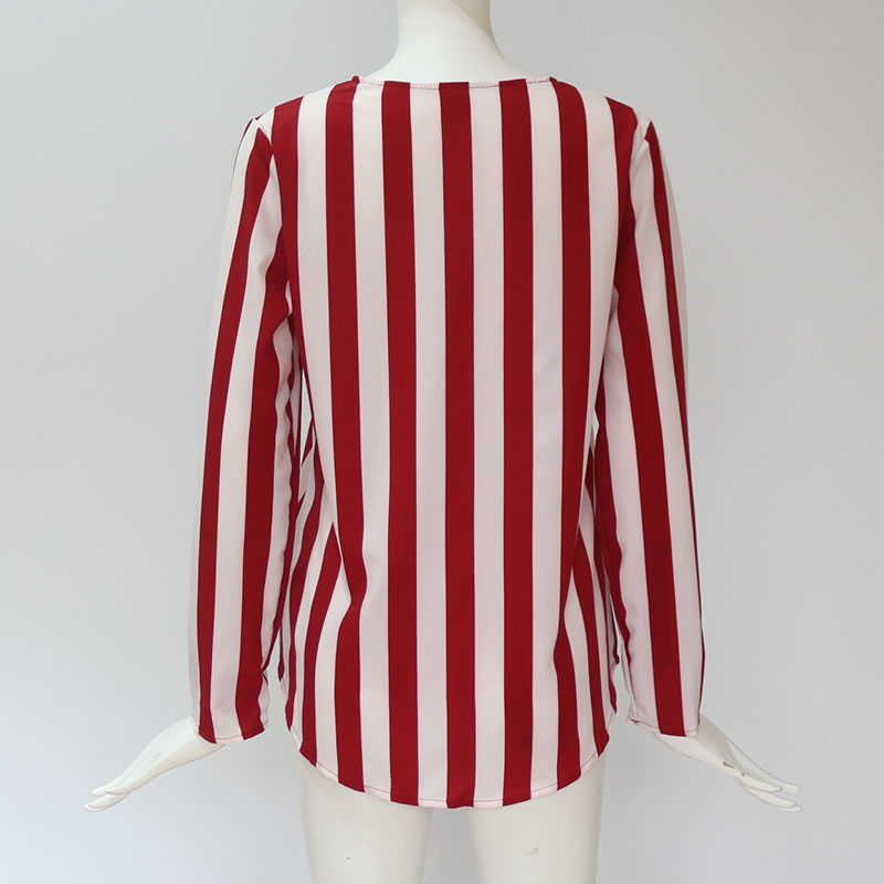 Women Striped Blouse Shirt Long Sleeve Blouse V-neck Shirts Casual Tops Blouse 55