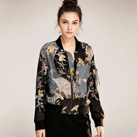 High Quality 100% Silk Jacket Women Lightweight Fabric Printed Long Sleeves Casual Bomber Coat Fashion Style New Fashion 2017
