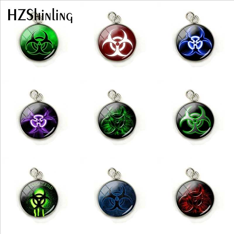 2019 New Biohazard Sign Symbol Glass Cabochon Round Glass Dome Charm Women Gifts Stainless Steel  Pendant Jewelry Gifts
