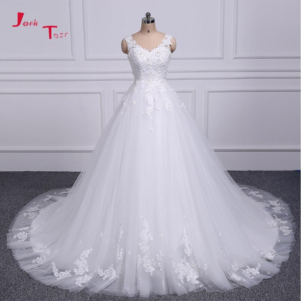 Jark Tozr 100% Real Picture V-neck Lace Up Beading Pearls Appliques Flowers Princess A-line Wedding Dress 2018 Vestido De Noiva