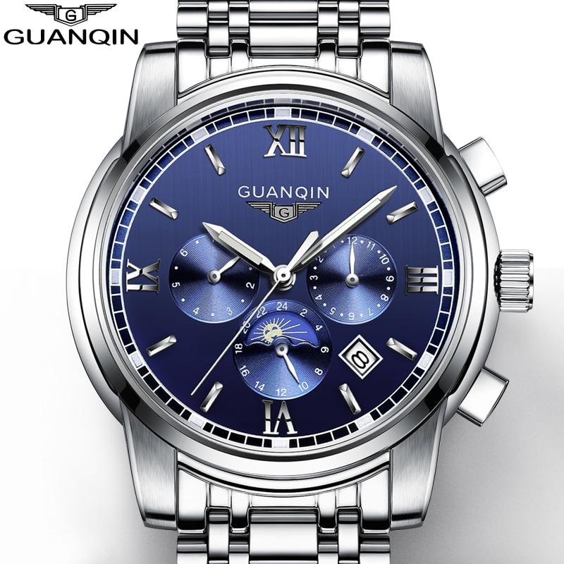 Здесь продается  2016 GUANQIN Top Brand New Mechanical watches Men Fashion Waterproof Luminous Watch with Calendar Moon Phase relogio masculino  Часы