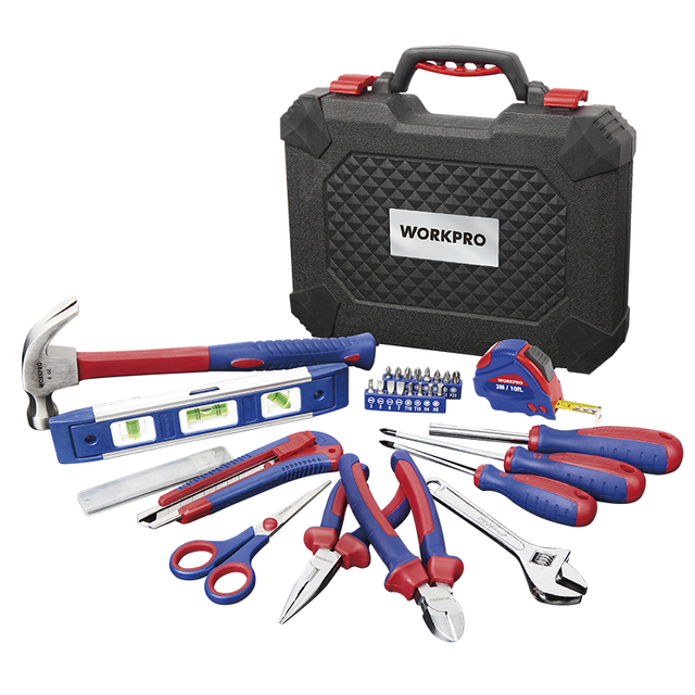 WORKPRO 28PC Home Tool Set Household Tool Kits Screwdrivers Pliers Scissor Knife Hammer 3