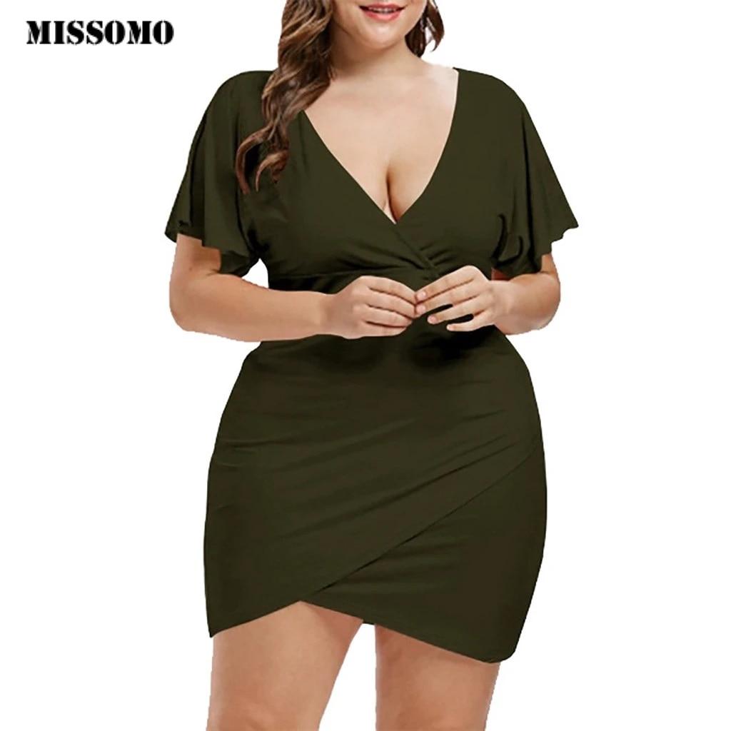 Missomo Robe D Ete Pour Femmes Tenue De Grande Taille 5xl Manches Courtes Col En V Mini Robe D Ete Decontracte Aliexpress