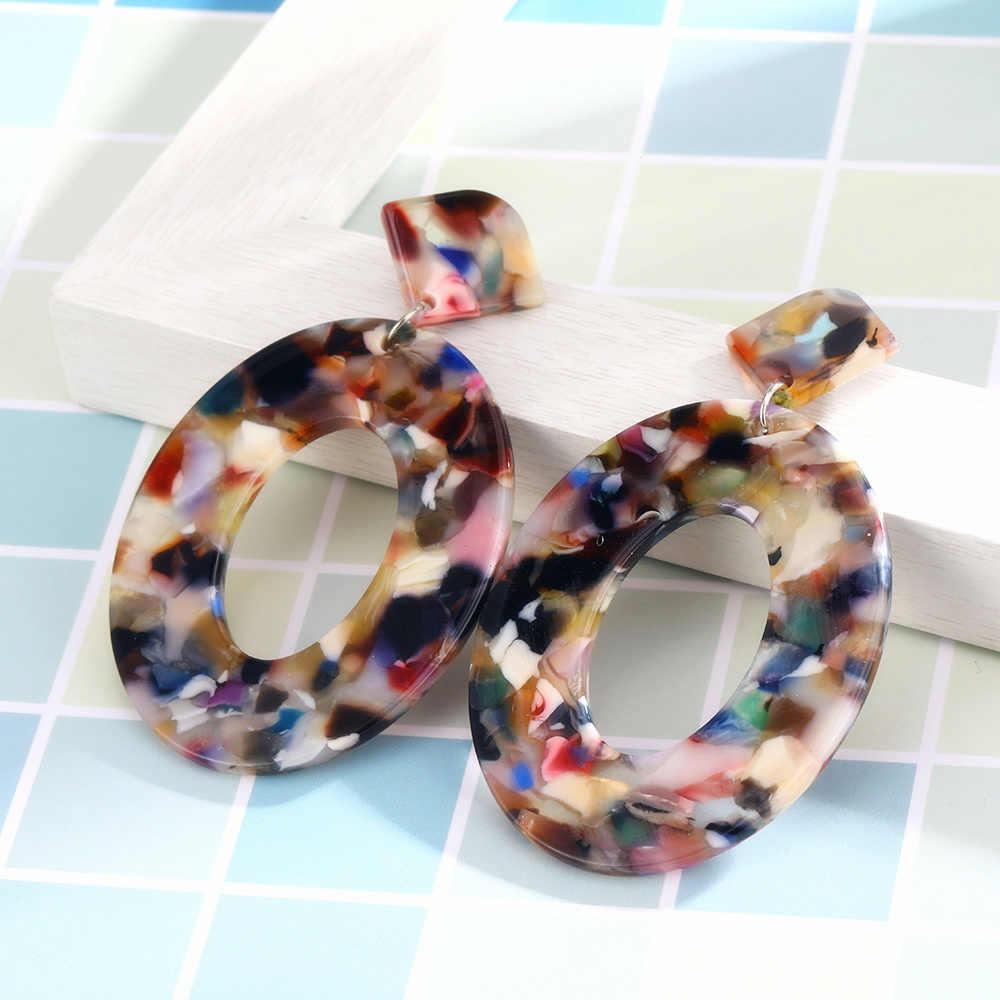 Korea Fashion Jewelry Colorful Acrylic Resin Oval Dangle Earrings For Women Geometry Big Circle Drop Leopard Earrings ZA Brincos