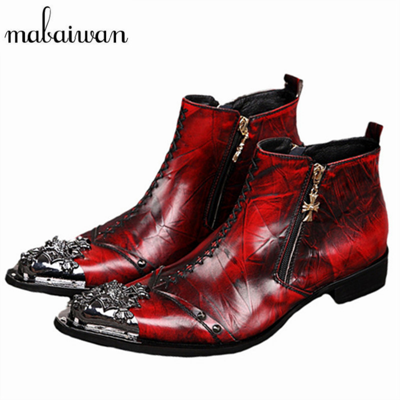 Mabaiwan Handsome Men Red Metal Pointed Toe Ankle Boots Genuine Leather Botas Hombre Cowboy Military Boots Dress Shoes Creepers