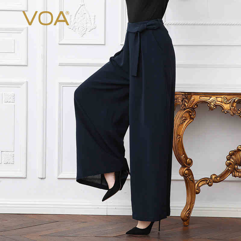VOA Heavy Silk Plus Size Loose Office Lady Business Wide Leg Pants Solid Navy Blue Brief Belt Women Casual Trouser Spring K325