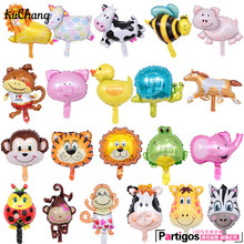 10pcs Mini Cartoon monkey Lion Tiger Giraffe animals head foil balloons baby shower birthday party decor Safari zoo Ballons toys