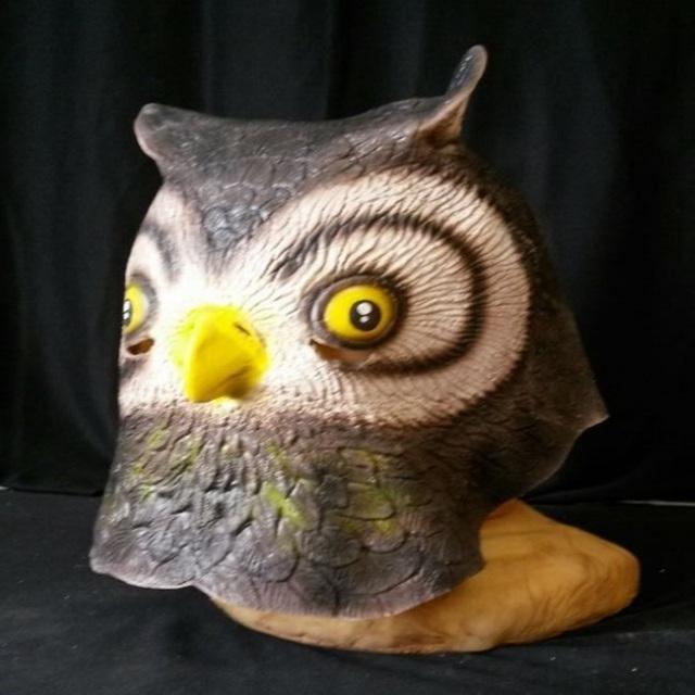 Máscara de La Cabeza llena Creativo de Halloween Máscaras de Animales Aves de Látex Natural Suave Tapa de Retención Búho Lindo Máscaras Del Partido