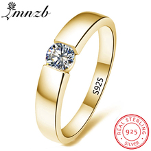 LMNZB 100% Original 925 Silver Gold Filled Ring Solitaire 6mm 1 Carat CZ Zircon Engagement Wed...