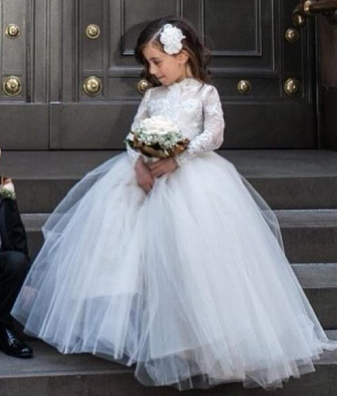Long Sleeves 2018   Flower     Girl     Dresses   For Weddings Ball Gown White Tulle Appliques Lace First Communion   Dresses   For Little   Girls