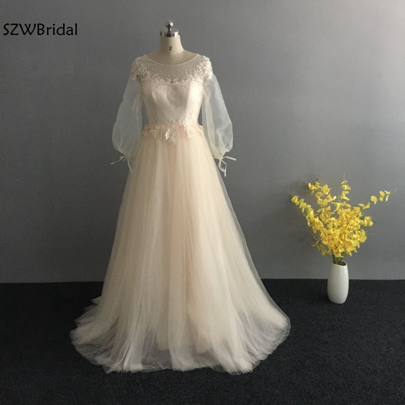 New Arrival Champagne Long sleeve   evening     dresses   2019 Lace Beaded   evening   gown A-Line Formal   dress   Party robe de soiree