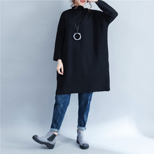 Ladies Warm Cotton Stand Long Sleeves Loose Jumper Dress Ladies Fall Winter Lagenlook  Tunic Dress Solid b6ea78158426