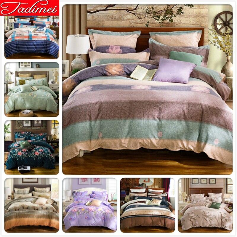 Красочные полосы 3/4 шт. постельное белье набор пододеяльников для пуховых одеял установлены простыни с резиновой мягкой постельное одн