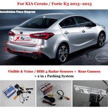 Para KIA Cerato/Forte K3 2013 ~ 2015-Sensores de Aparcamiento + Cámara de Visión trasera = 2 en 1 Visual/BIBI Alarma Sistema de Aparcamiento