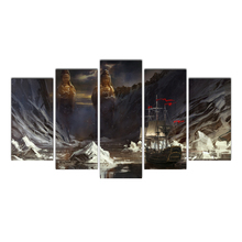 Framed 5 Pieces Abstract Wall art picture Sailboat&Buddha religion Canvas Painting for Living Room Home Decoration Free Shipping