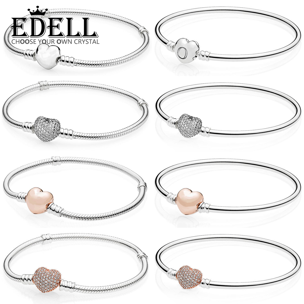 EDELL100% 925 sterling silver classic basic bracelet heart-shaped lady DIY beaded silver jewelry gift factory direct цена