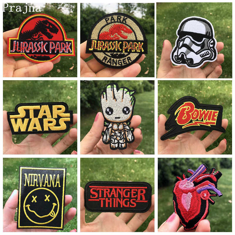 Prajna Star Wars Embroidered Patches For Clothes Stickers Stripes Bob Marley Patch Potter Iron On Patches Applique Galaxy