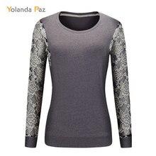 Yolanda Paz 2019 New Autumn winter women long sleeve hoody Dark gray o-neck lace Stitching tops big size sweashirt hoodies M-XXL