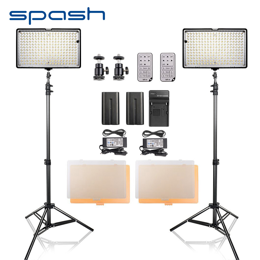 spash LED Video Light 2 in 1 Kit Photography Lighting with Tripod Remote Control CRI 93 3200K-5600K Camera Photo Studio Lamp latour 2400 led photography lighting dms 5600k studio video camera stage light lamp