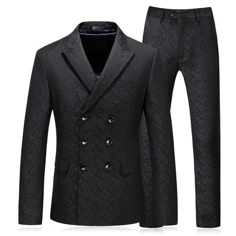 2018 fashion mens suit double breasted printing plus size 5xl mens blazer classic black mens designer Suits set 3 pieces