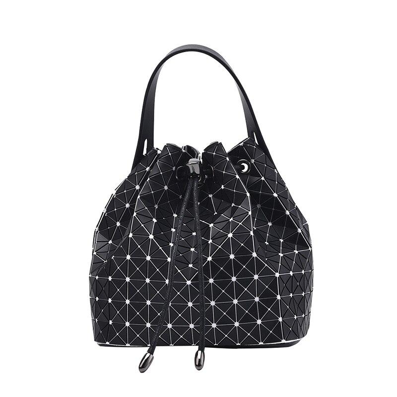 Women's Drawstring Bucket Bags Geometric Lattice Tote Glossy PU Leather Shoulder Bag Top-Handle Handbags