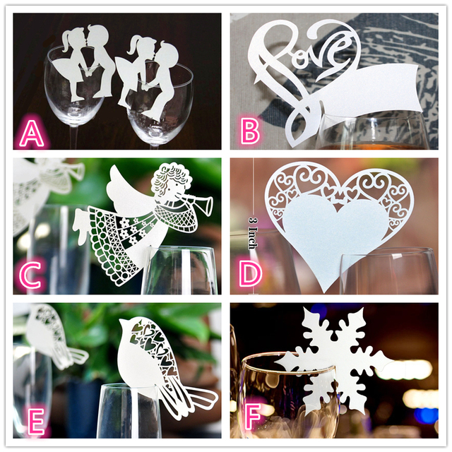 50pcs Laser Cut Butterfly Angel Heart Bird Wine Glass Card Table Name Place Escort Cup Card Party Wedding Decorations For Home