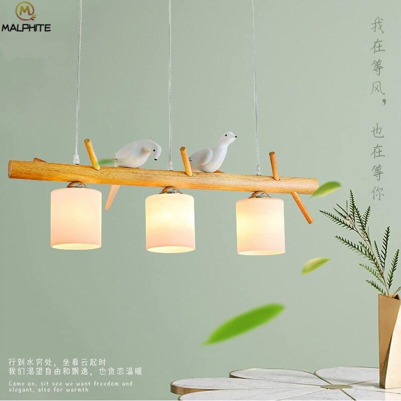 Nordic Restaurant Suspension Pendant Lights Modern Wooden And Resin Bird Pendant Lamp Luminaires Kids Bedroom Deco Light Fixture