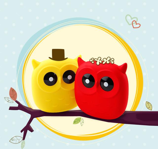 Sibaina bonito coruja dos desenhos animados banco de potência portátil carregador de bateria 18650 para iphone xiaomi vermelho 4pro pequeno carregador de bateria powerbank