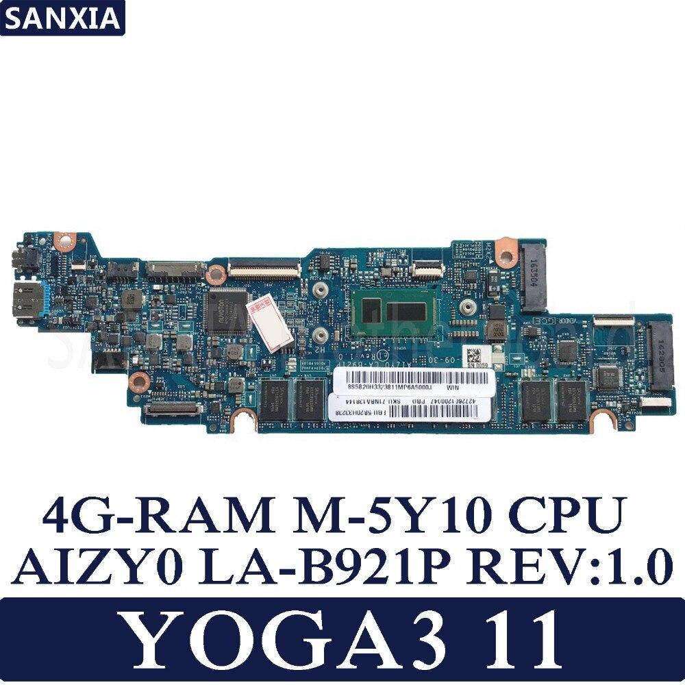 KEFU AIZY0 LA-B921P REV: 1.0 carte mère d'ordinateur portable pour Lenovo YOGA3 11 Test de YOGA carte mère d'origine 4G-RAM M-5Y10 CPU
