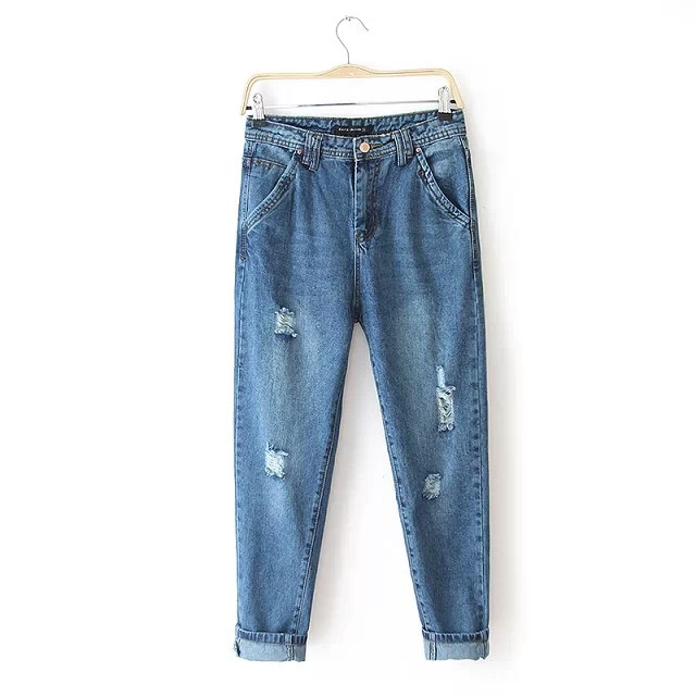 ФОТО Spring Autumn New Women Jeans Ripped Holes Fashion Straight Full Length Mid Waist Famale Washed Denim Pants Cotton Trousers