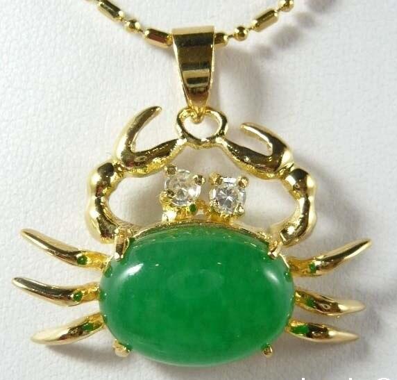 13*18mm Green Jade Crab Pendant