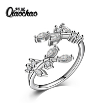Newest 925 Sterling Silver Luxury Dazzling Wedding LEAVES Silver Ring for Women High Quality Fine Jewelry