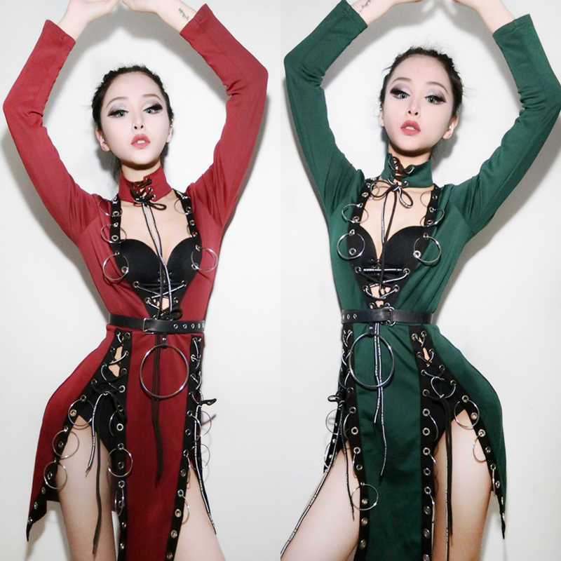 Performance Costumes New Sexy Bar Female Singer Led Dj Jazz Dance Clothing Tie Ring Color Jazz Dance Costumes Long Sleeve Dress