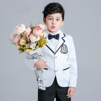 2018 new fashion baby boys kids spring autumn blazers suits boy suit for weddings children formal white dress wedding boy suits kimocat boy and girl high quality spring autumn children s cowboy suit version of the big boy cherry embroidery jeans two suits